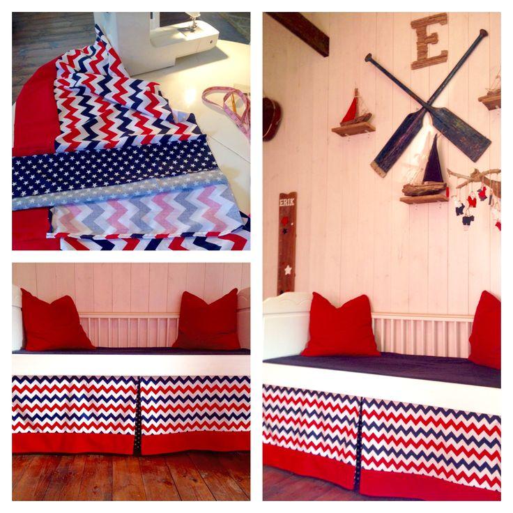 Finally I made the crib skirt in Erik's nursery.:-)