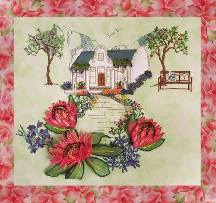 Enchanting Designs - Wow! They just keep getting better. A 3D machine embroidery South Africa view on a pillow front.