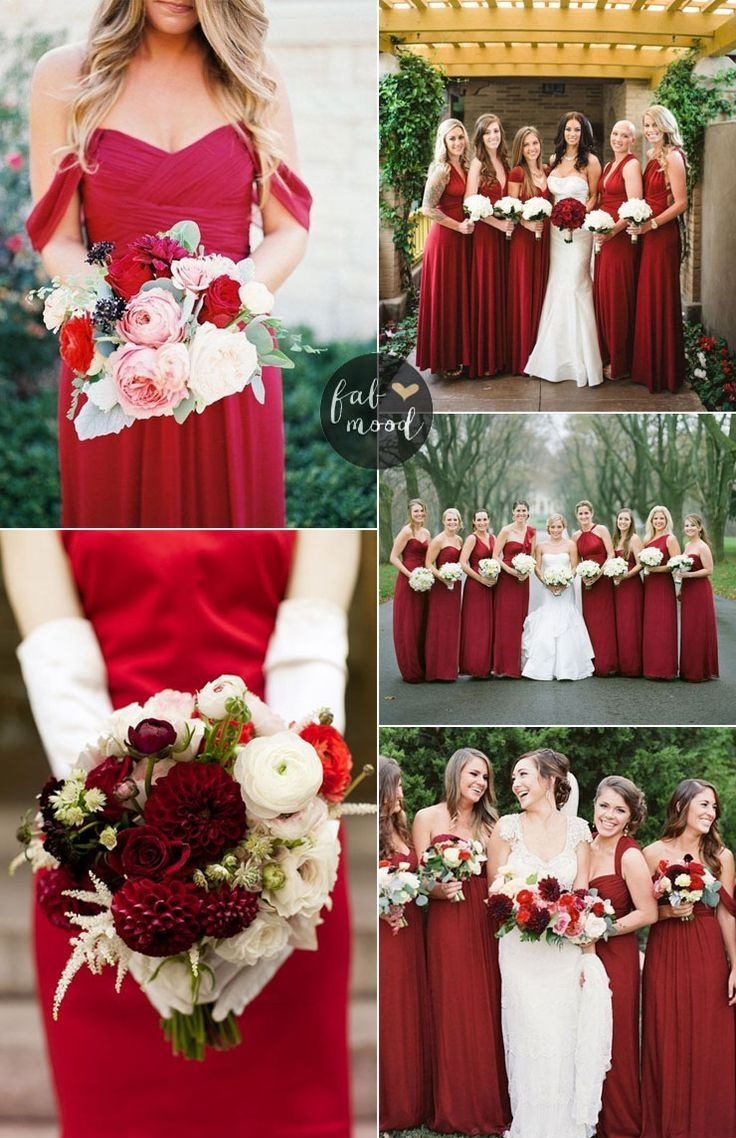 Aline vneck dark red elastic satin bridesmaid dress in
