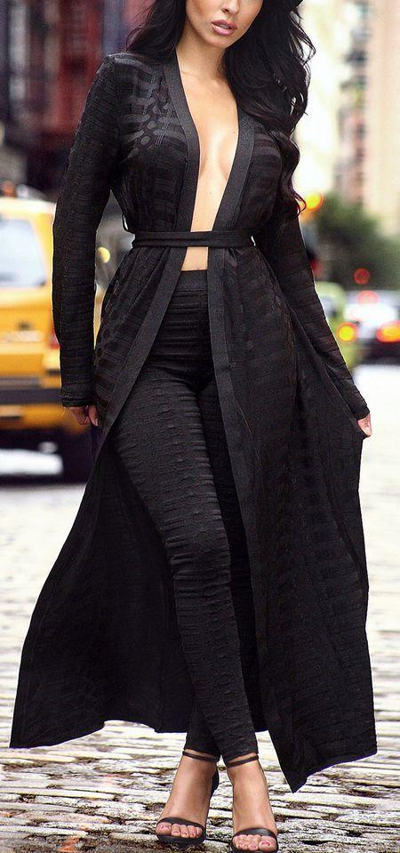 Jacquard Black Bandage Cape Sweater with Tie Plus Pants