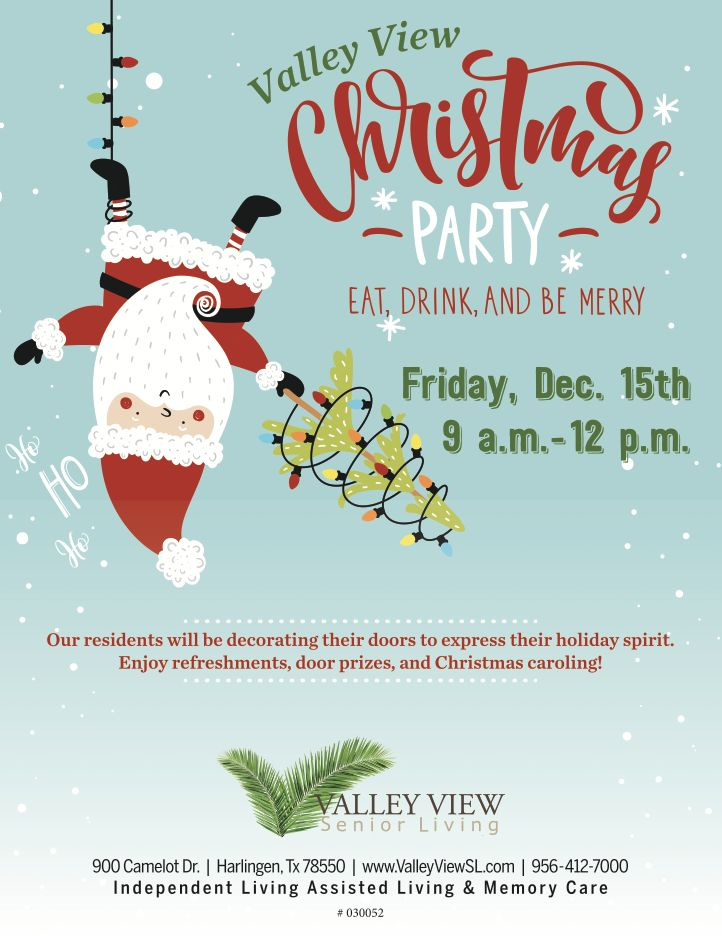 Want an excuse to check out Valley View Senior Living? Our Christmas Party is the perfect no-obligation event! Come see the community, try out some refreshments made by our chef, get a door prize, and enjoy some Christmas Caroling!