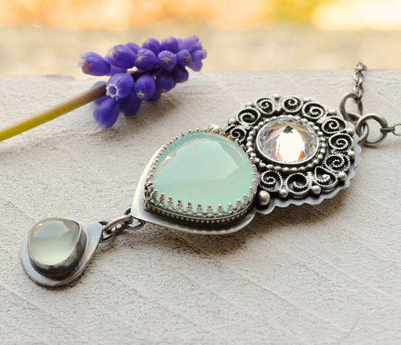 Винтажный Стиль Серебряная Филигрань Аква халцедон ожерелье ручной изготовленных в Окисленной серебра, летний Стиль, реликвия ювелирных изделий