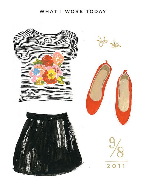 what i wore today illustrations by Danielle Kroll (originally seen on black*eiffel blog)