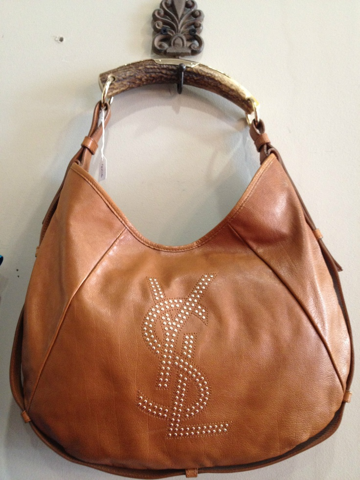 Authentic YSL Yves Saint Laurent Mombasa bag, brown leather, studs ...