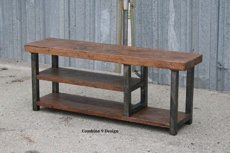 Vintage Industrial Bench.  Solid Reclaimed Wood. Steel. Seating. Shelves. Made to order in custom size. Urban. Modern. Rustic. Distressed. by leecowen on Etsy https://www.etsy.com/listing/192116970/vintage-industrial-bench-solid-reclaimed
