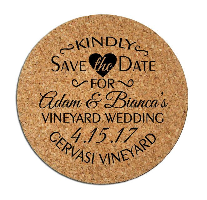 Save the Dates Wedding Annoucements 50 Personalized Round Cork Coasters Custom 2016 2017 Wedding Save the Date Winery Brewery Rustic Wedding by Factory21 on Etsy