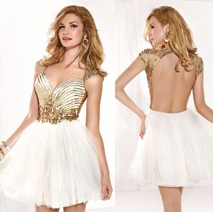 2015 Sweetheart Sexy Open Back Graduation Dresses Short Luxury Gold Sequiens White Tulle Party Dresses Vestidos de noche Fashion