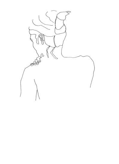 Zonder titel 9 - tekening in viltstift op papier - 40 x 30 cm
