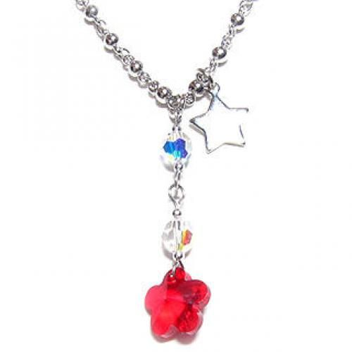 `Trio` Necklace with Red Swarovski Crystal Silver - One Size