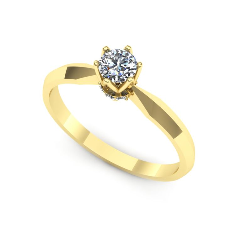 Inelul este realizat din:  Piatra principala: diamant 1buc x ~3.70mm - greutate: ~1.90ct; Pietre secundare: diamante 6buc x ~1.10mm - greutate totala: ~0.04ct