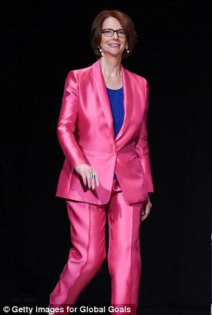Julia Gillard hailed as a 'fierce' feminist as she shows off pink suit #dailymail