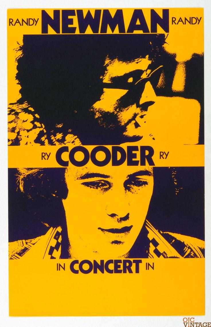 Randy Newman Ry Cooder 1974 Oct 5 Symphny Hall Atalanta Poster 12 x 22