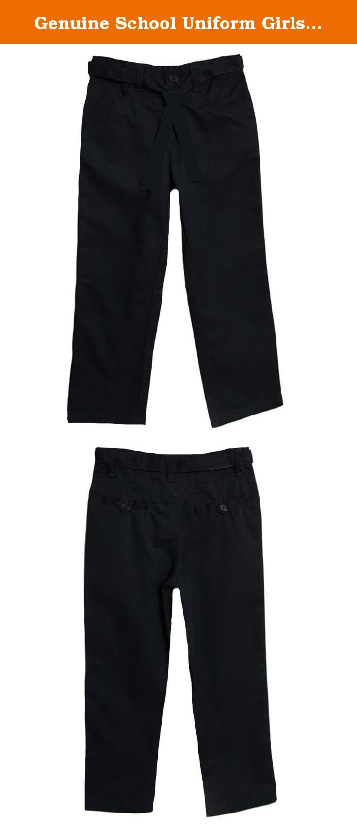 Genuine School Uniform Girls Navy Flat Front Belted Uniform Pants. Flat front with button and zipper closure / Inside adjustable elastic waistband / Reversible, removable belt / 60% cotton / 40% polyester / By: Genuine School Uniform.