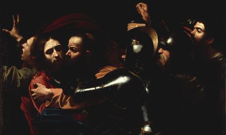 Caravaggio's The Taking of Christ (detail)  Illumination and light sourcing. Caravaggio's work is renowned for its use of chiaroscuro.