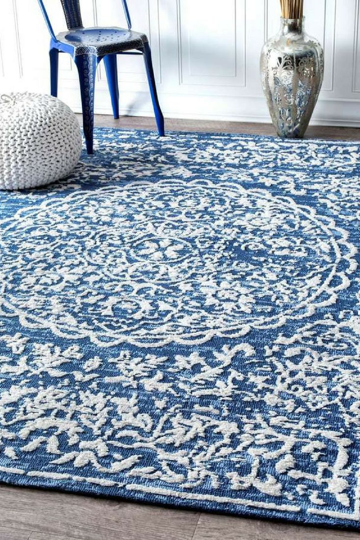 """Save Big on this beautiful blue rug. Vintage Melody Rug: *Made of polyester *Features an intricate design *0.25"""" pile. #arearugs #vintagerugs #rugsforbedroom"""