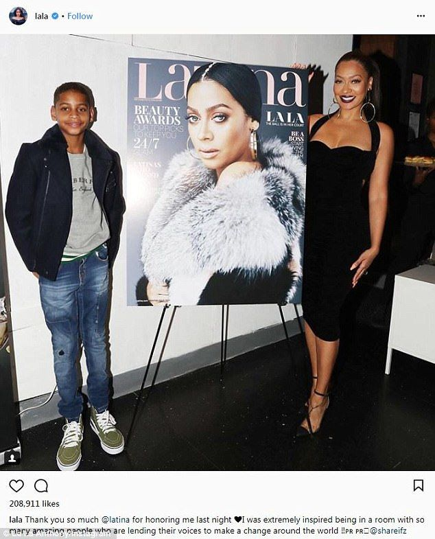 Proud son:  Kiyan supported his mom at the Latina Magazine cover party in December...