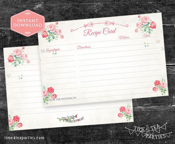Recipe Card Vintage Pink Floral. Download Today by Time4TeaParties