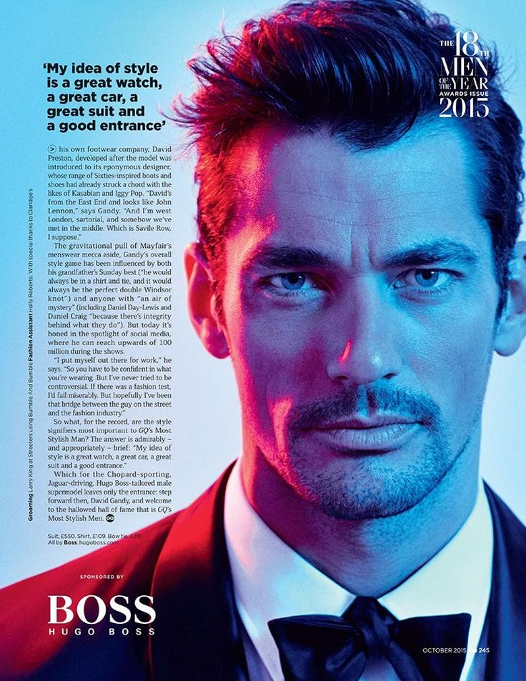 British GQ's Most Stylish Man of the Year, David Gandy puts on a dapper front for one of the magazine's October 2015 cover stories. Photographed by Arnaldo Anaya-Lucca and styled by fashion editor Jo Levin, David dons a tuxedo from BOSS by Hugo Boss. Talking to the magazine about style, the top British model says, …