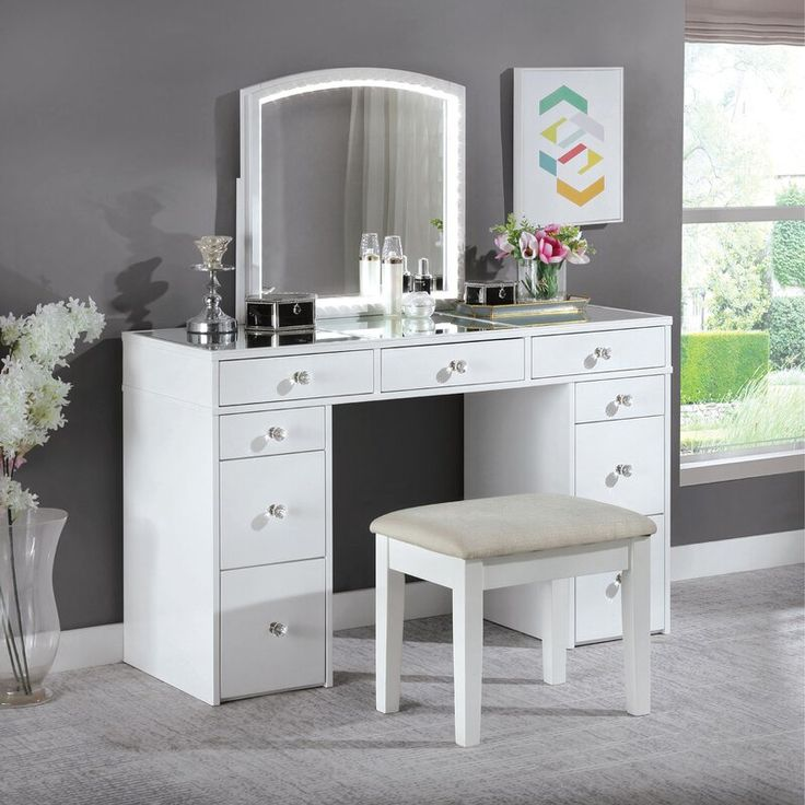 hana vanity set with stool and mirror in 2020  bedroom