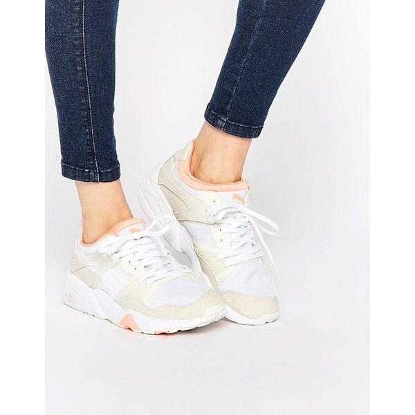 Puma Blaze Trinomic Beige Trainers (€90) ❤ liked on Polyvore featuring shoes, sneakers, beige, beige shoes, laced up shoes, puma sneakers, grip shoes and lace up sneakers