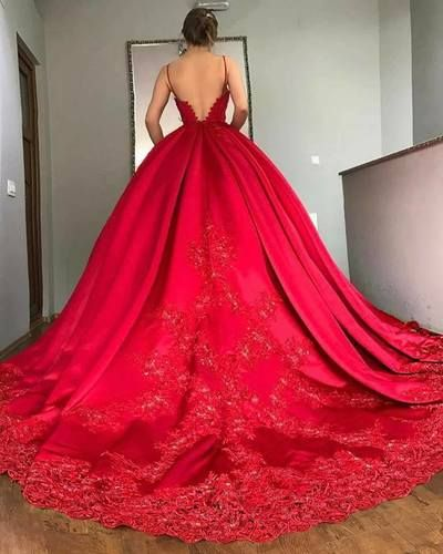 2018 New Red Big tail lace evening dress wedding dress