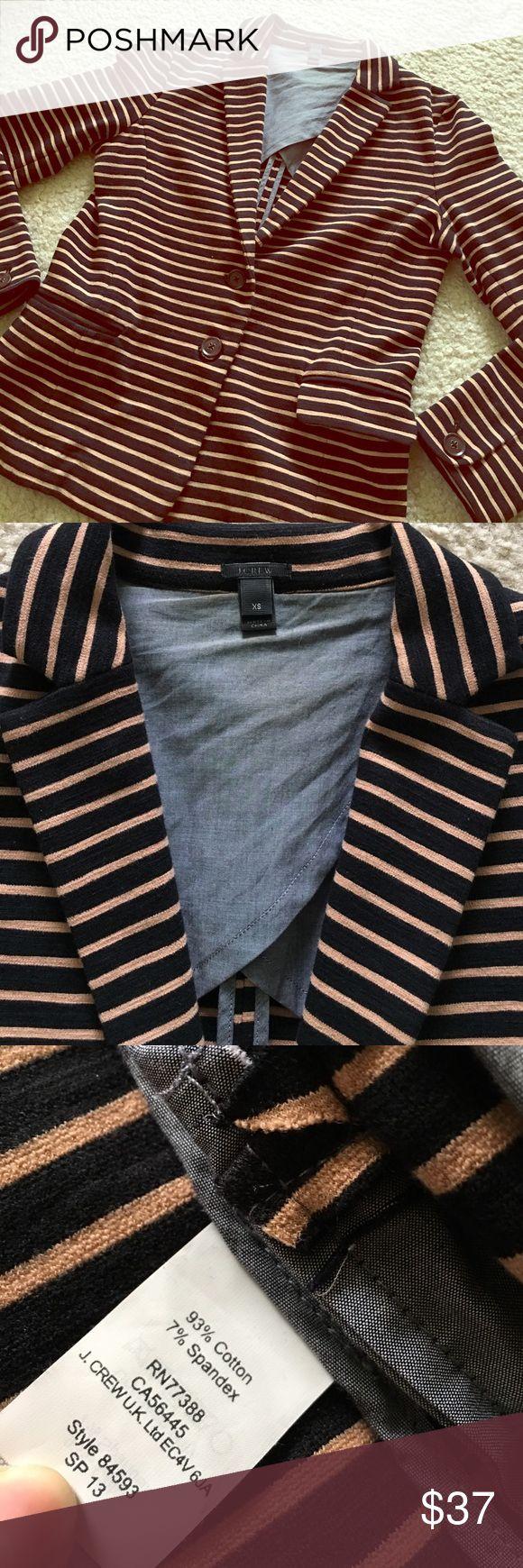 J CREW black & tan stretchy striped blazer J CREW black & tan stretchy striped blazer. In great condition and open to offers! J. Crew Jackets & Coats Blazers