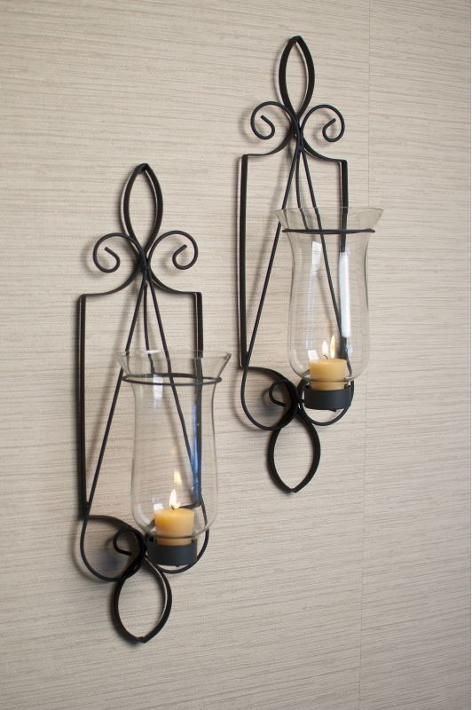 """Danya B KF361 21"""" Tall Candle Wall Sconces - Set of 2 Black Home Decor Accents Candle Holders"""