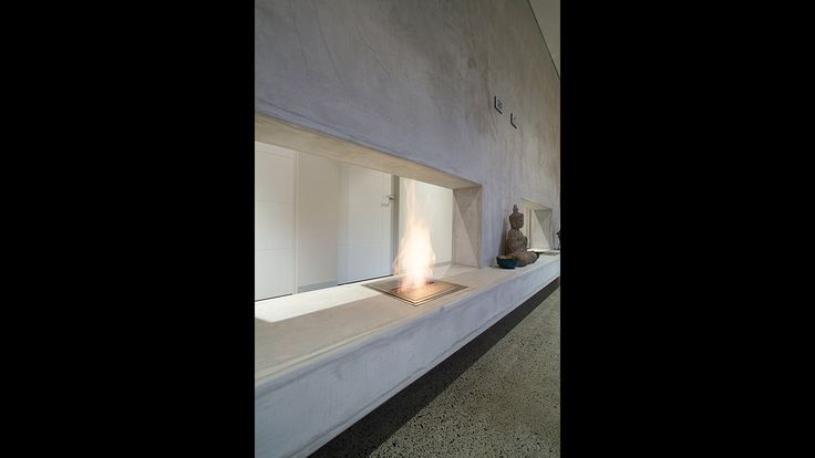 Bio flame Fireplace, glass faced render, Balinese style living room, architecture
