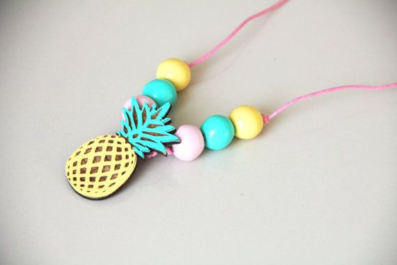 wooden Pineapple necklace for girls - painted wooden beads. the summer must have 2015 #pineapplenecklace #woodenbeadsnecklace #woodenpineapple #kidsnecklace