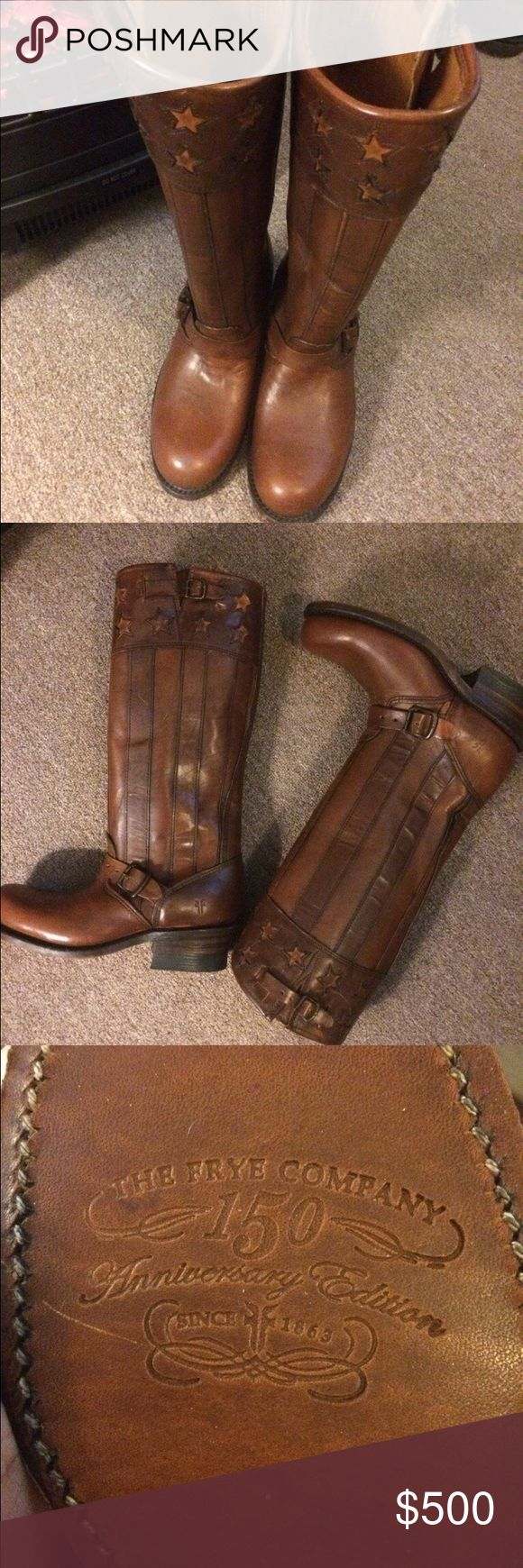 Brown frye knee boots frye limited addition stars and stripes boots 7 1/2 frye Shoes Heeled Boots