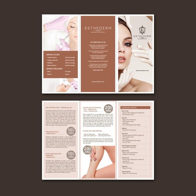 create a med spa brochure  price list by chinyii