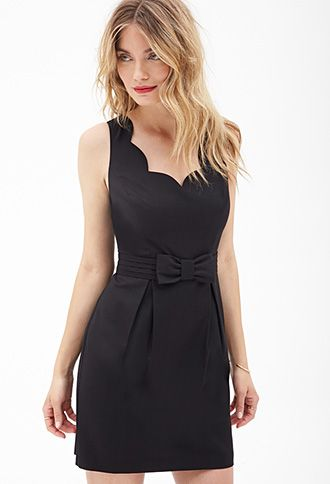 Scalloped Bow-Front Dress | FOREVER21 - 2000058733