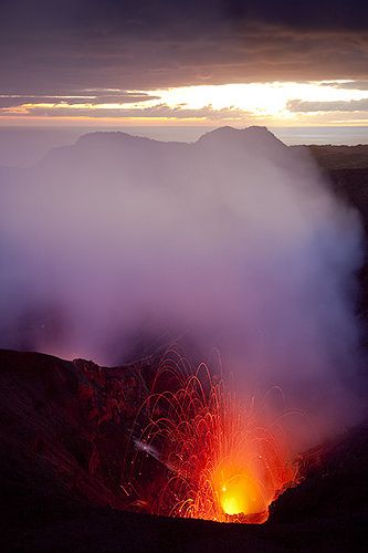Erupting crater of Yasur volcano, Tanna Island,  Vanuatu by volcanodiscovery, via flickr