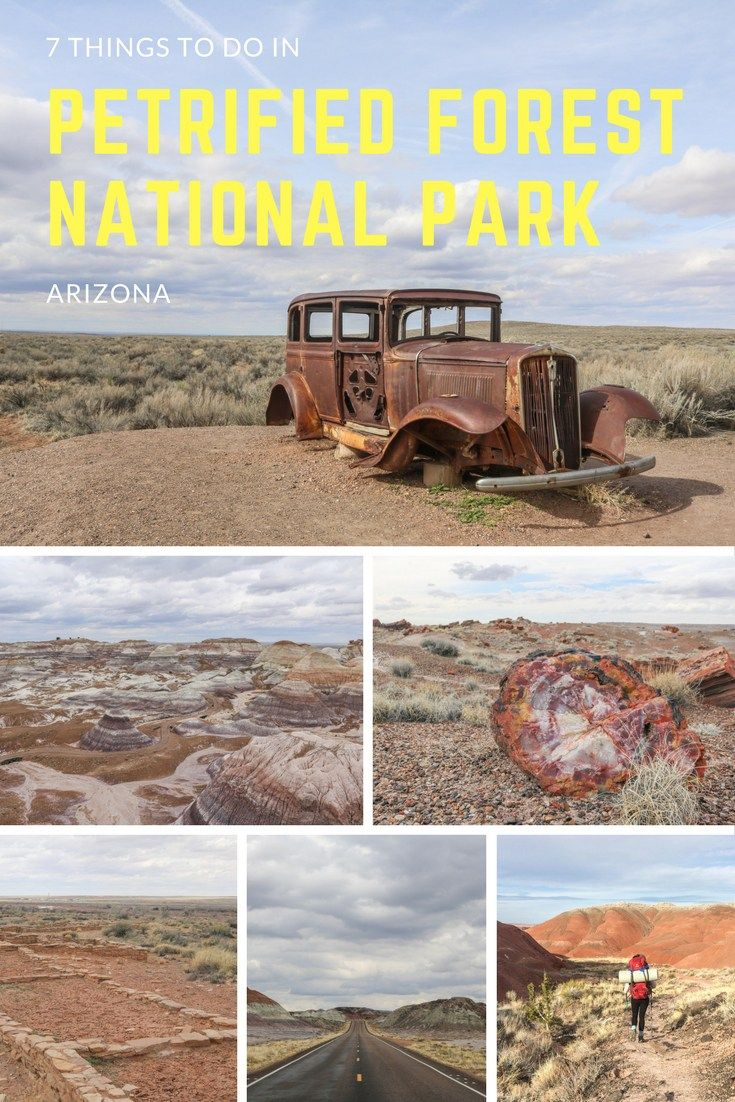 7 Things to Do in Petrified Forest National Park, Arizona.  From the Painted Desert and Blue Mesa to petrified logs and Native American ruins and petroglyphs, Petrified Forest National Park has more to offer than you might think.