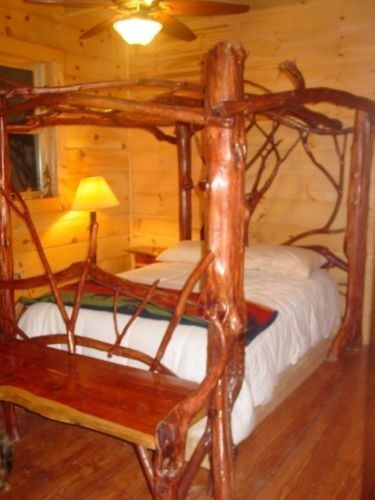 Rustic Canopy Bed Cabin Log Lake Home furniture Solid Red Cedar VERY SOLID LOOK  #Cottage