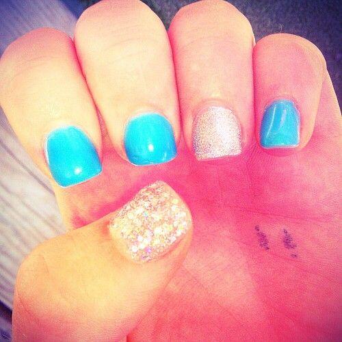 Blue Amp Glitter Acrylic Nails N A I L S Amp M A K E U P ☯ Pinterest Acrylics Glitter And