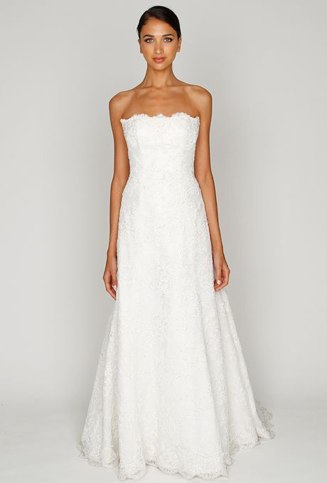 Brides: Bliss by Monique Lhuillier. Ivory re-embroidered lace strapless embellished A-line gown.More Details From Bliss by Monique Lhuillier