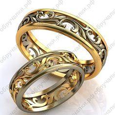 43000 руб Недорогие легкие ажурные обручальные кольца с орнаментом из комбинированного золота на заказ