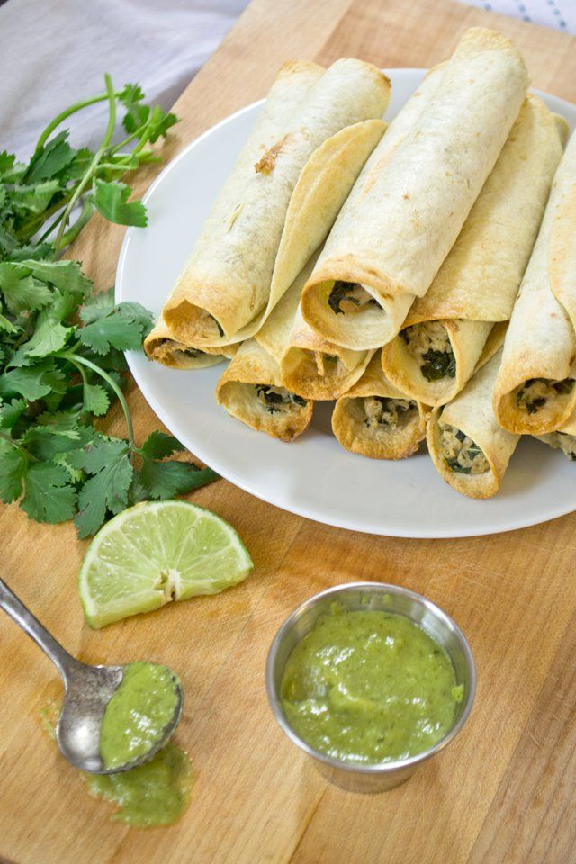 Pin for Later: We Dare You to Resist These 14 Cheesy Taquito Recipes Baked Chicken and Kale Taquitos With Jalapeño Green Sauce Get the recipe: baked chicken and kale taquitos with jalapeño green sauce