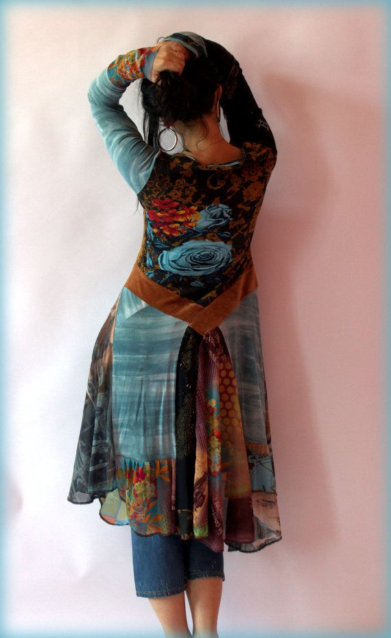 Blue rose fantasy dress tunic, made from used clothing and new fabrics. In part recycled, reused and remade. Hippie, boho. Art design. One of a kind. Perfect with pants, especially jeans. Size M  Length: till 44 inches. Wash delicate.