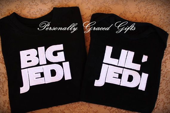 Star Wars Inspired Big Little JEDI Brother or Sister Sibling Embroidered Shirt(s) or Bodysuit(s) Set of 2