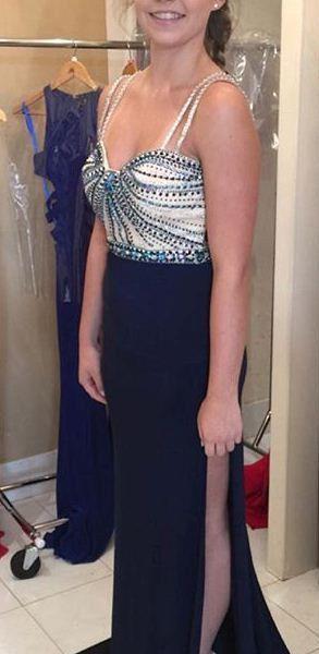 Blue Prom Dresses 2017 Spaghetti Straps Beading Backless Side Slit