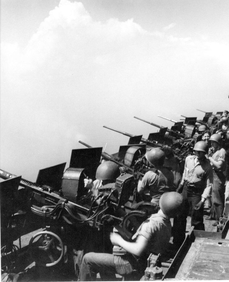 Battery of 20mm Oerlikon canons of USS Hornet (CV-12) February 1945. With some improvements, the 20mm is  very much in service today.