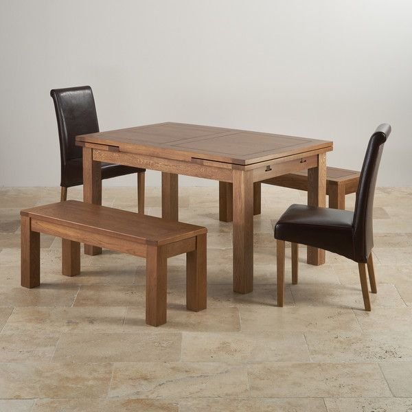 Rustic Solid Oak Dining Sets 4ft 7 Extending Dining Table With