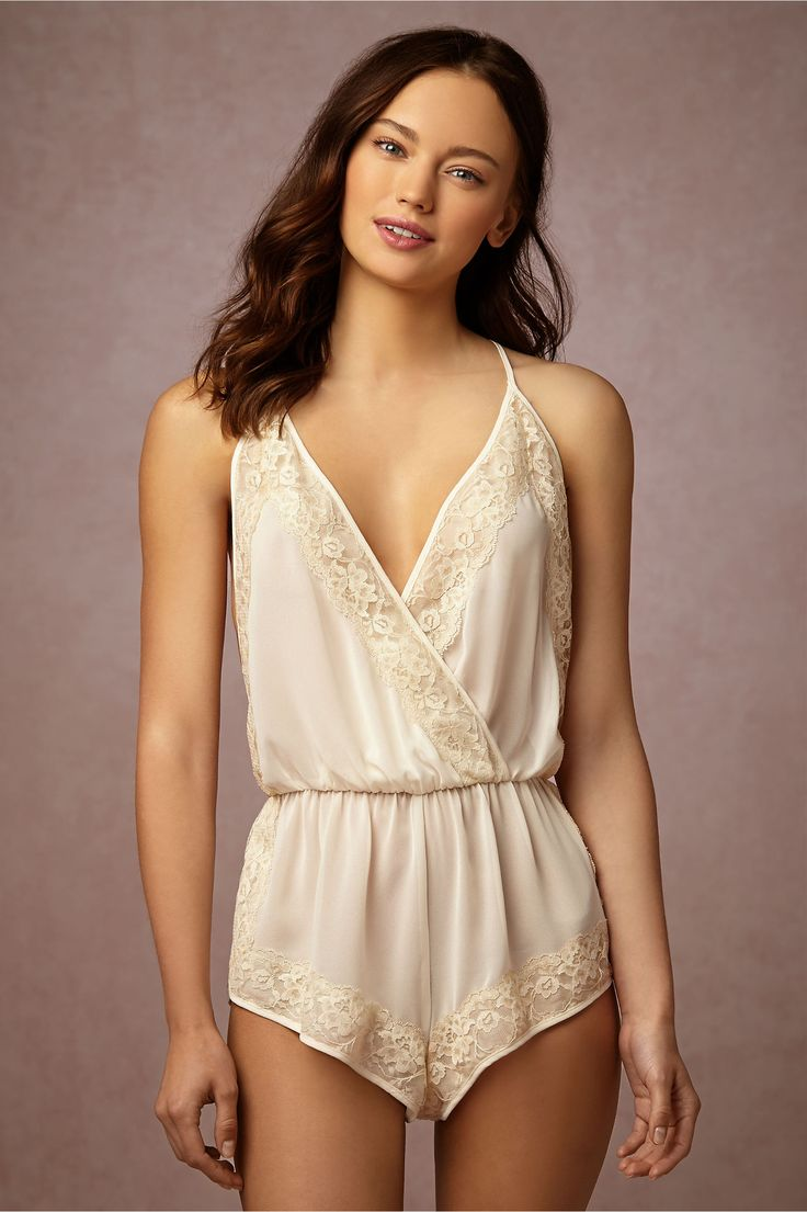 BHLDN Alabaster Lace Romper in  Shoes & Accessories Lingerie at BHLDN