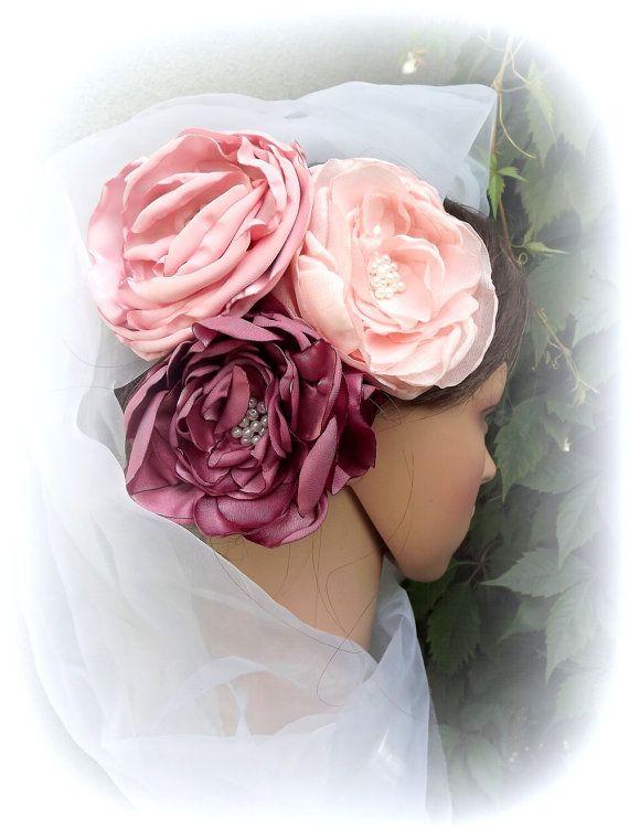 Set of 3 large flowers hair. Wedding flowers by AcoyaJewellery