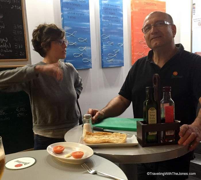tomato bread lesson, L'Anxoveta, Barcelona