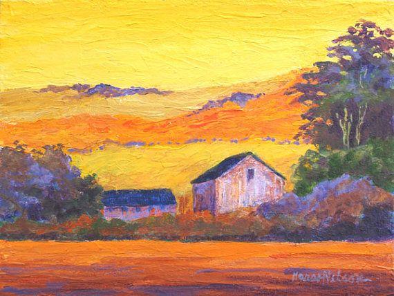 Bright Landscape Original Acrylic Art Farm By Marshnelsonfineart 55 00 With Images Acrylic Art Art Acrylic