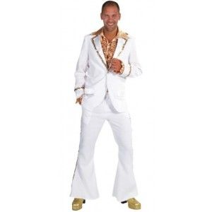 Déguisement disco blanc homme luxe, Costume 70's disco blanc à sequin or chic homme, années 70's