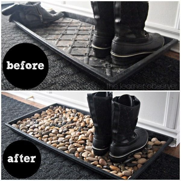 Easy to make #DIY mudroom mat  with pebbles #HomeDecorIdeas @istandarddesign